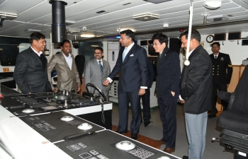 Ambassador interacting with the captain and crew of ICGS SHAURYA, the indigenously built Advanced off shore patrol vehicle which was on a four day visit to South korea
