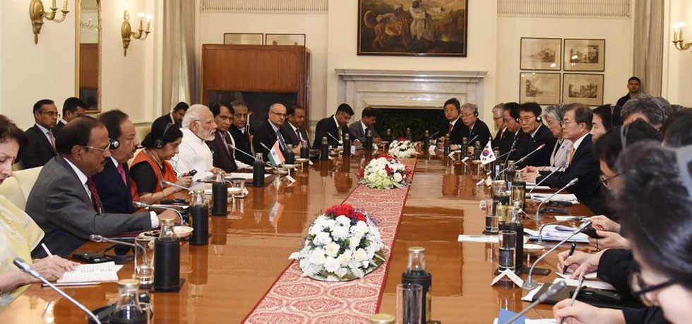 Prime Minister and Moon Jae-in, President of the Republic of Korea hold delegation level talks at Hyderabad House