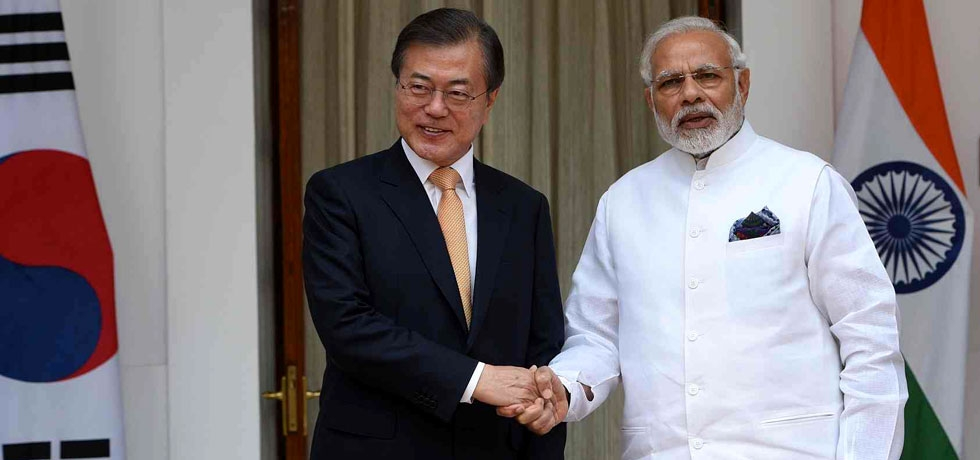 PM Narendra Modi meeting with ROK President Moon Jae-in at Hyderabad House in New Delhi