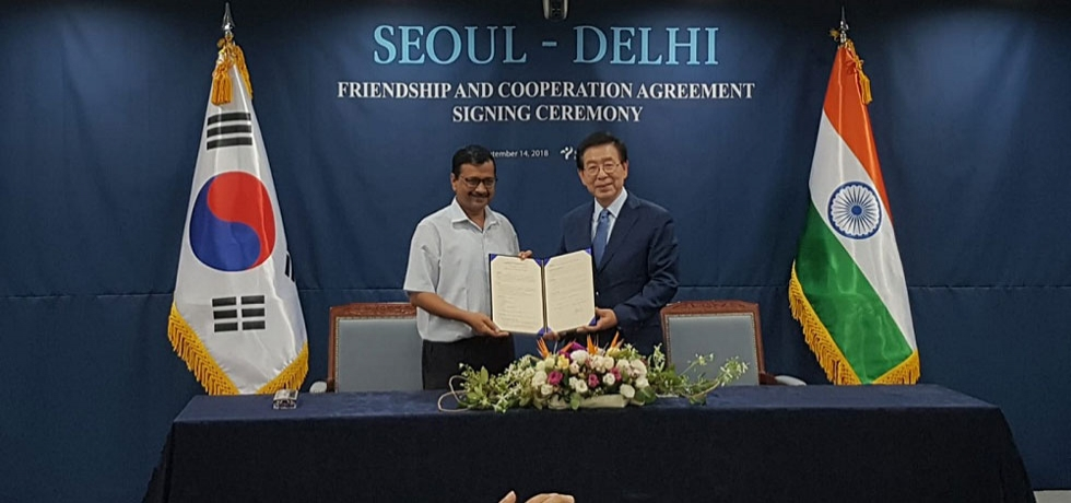 Signing of Sister City MoU between Delhi Govt and Seoul Metropolitan Govt