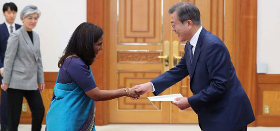 President Moon Jae-in accepting the credentials of Ambassador