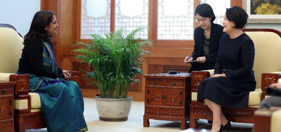 Ambassador calling on H.E. Mrs. Kim Jung-sook, First Lady of ROK