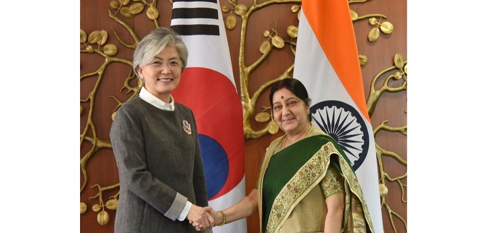 EAM Sushma Swaraj and FM Kang Kyung-wha co-chaired 9th Joint Commission Meeting in Delhi