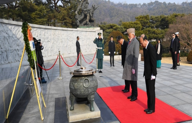 Prime Minister lays wreath at the National Cemetery of Korea in Seoul.