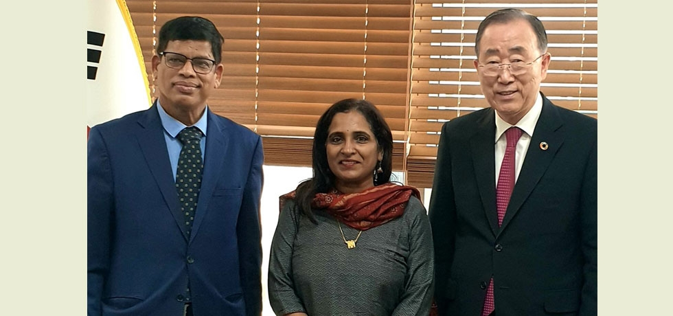 Ambassador Ms. Sripriya Ranganathan and Shri. Upendra Tripathy, Director General, International Solar Alliance, visited HE Mr. Ban Ki-moon, Chairman Institute for Global Engagement and Empowerment.