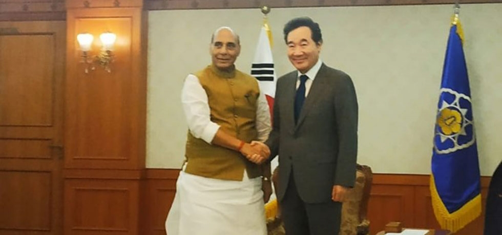 Raksha Mantri Shri. Rajnath Singh called on ROK Prime Minister Lee Nak-yon