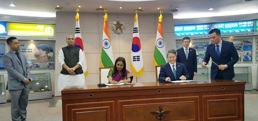 Ministers witnessing signing of an agreement