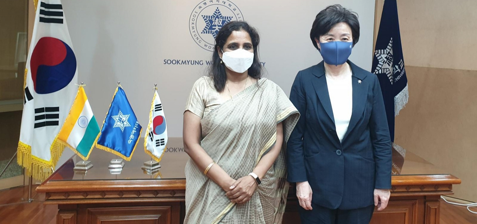 Ambassador Sripriya Ranganathan with Ms. Chang Yunkeum, President of Sookmyung Women's University
